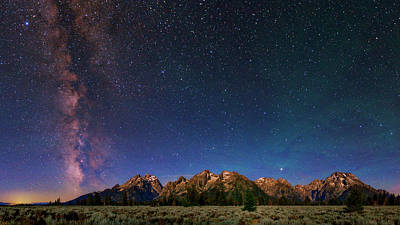Milky Way Over Grand Teton National Park Poster