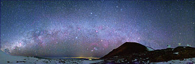 Milky Way Over Telescopes On Hawaii Poster by Walter Pacholka, Astropics