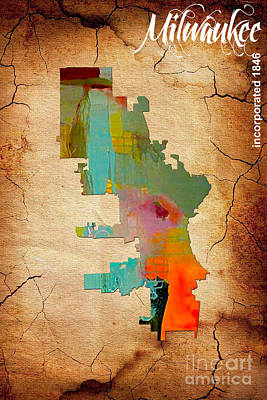 Milwaukee Map Watercolor Poster