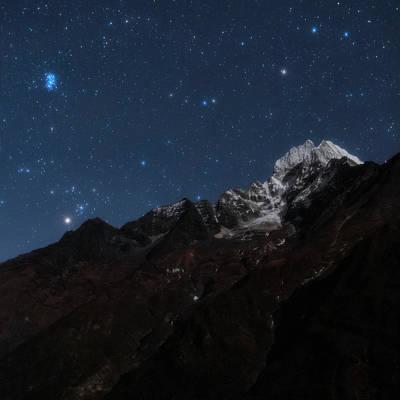 Night Sky Over The Himalayas Poster