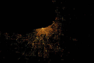 Night Time Satellite Image Of Chicago Poster