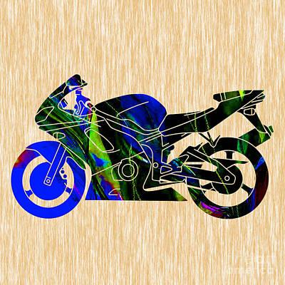 Ninja Motorcycle Art Poster by Marvin Blaine