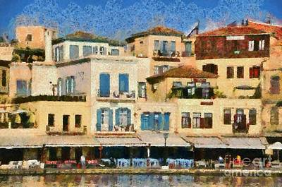 Painting Of The Old Port Of Chania Poster