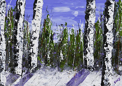 Painting Of White Birch Trees In Winter Poster by Keith Webber Jr