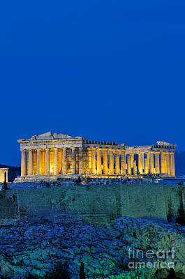 Parthenon In Acropolis Of Athens During Dusk Time Poster by George Atsametakis