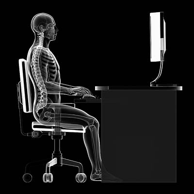 Person Sitting With Correct Posture Poster