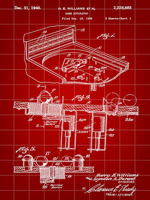 Pinball Machine Patent 1939 - Red Poster by Stephen Younts