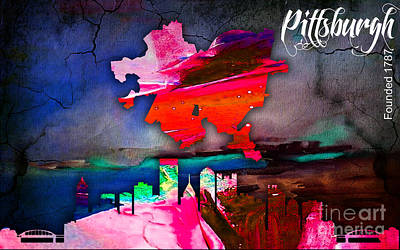 Pittsburgh Map And Skyline Watercolor Poster by Marvin Blaine