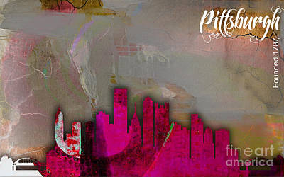 Pittsburgh Skyline Watercolor Poster