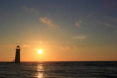 Point Of Ayr Lighthouse At Sunset Poster
