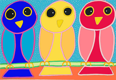 3 Primary Colored Owls Poster by Matthew Brzostoski