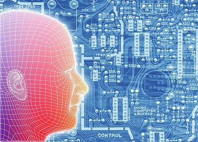 Printed Circuit Board And Wireframe Head Poster by Alfred Pasieka