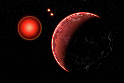 Proxima B Planet Orbiting The Proxima Poster by Mark Stevenson
