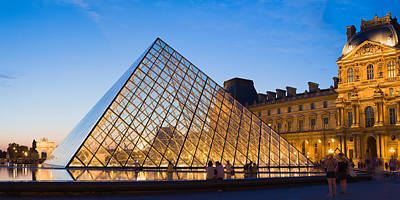 Pyramid In Front Of A Museum, Louvre Poster by Panoramic Images
