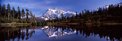 Reflection Of Mountains In A Lake, Mt Poster
