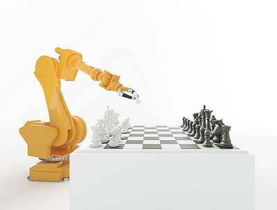 Robotic Arm Playing Chess Poster