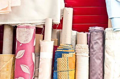Rolls Of Fabric  Poster