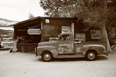 Route 66 Garage And Pickup Poster by Frank Romeo