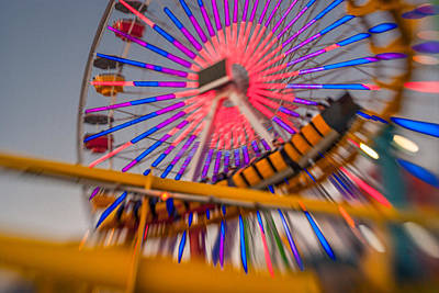 Santa Monica Pier Ferris Wheel And Roller Coaster At Dusk Poster