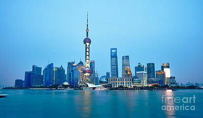 Shanghai Pudong Cityscape At Night Poster by Fototrav Print