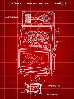 Slot Machine Patent 1978 - Red Poster by Stephen Younts