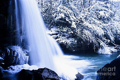 Snow And Waterfall Poster