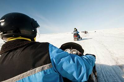 Snowmobilers Poster by Ashley Cooper