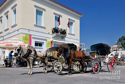 Horse Carriages In Spetses Town Poster