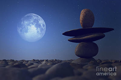 Stacked Stones In Moonlight Poster by Aleksey Tugolukov