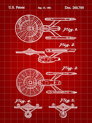 Star Trek Uss Enterprise Toy Patent 1981 - Red Poster by Stephen Younts