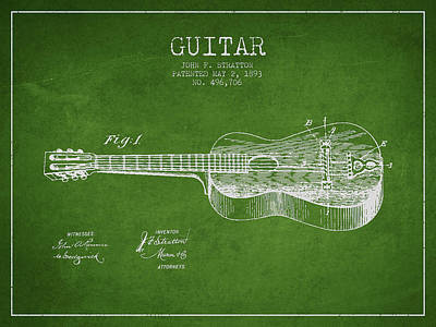 Stratton Guitar Patent Drawing From 1893 Poster