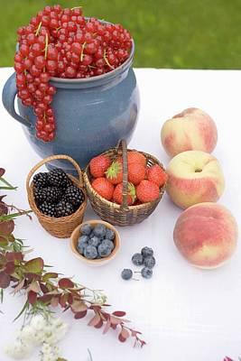 Summer Fruit Still Life On Table In Garden Poster