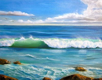 Sunny Seascape Poster by Heather Matthews