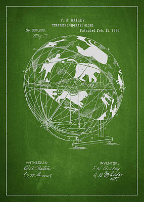 Terrestro Sidereal Globe Patent Drawing From 1886 Poster