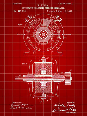 Tesla Alternating Electric Current Generator Patent 1891 - Red Poster