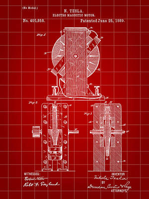 Tesla Electro Magnetic Motor Patent 1889 - Red Poster by Stephen Younts
