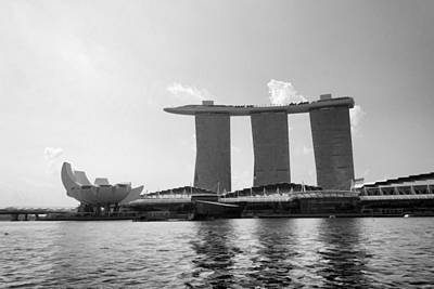 The Artscience Musuem And The Marina Bay Sands Resort In Singapore Poster by Ashish Agarwal