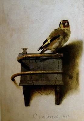 Poster featuring the painting The Goldfinch by Carel Fabritius
