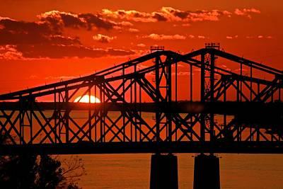 The Mississippi River Bridge At Natchez At Sunset.  Poster