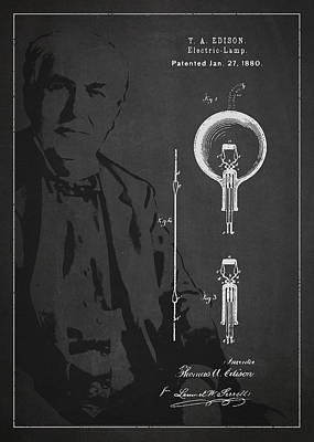 Thomas Edison Electric Lamp Patent Drawing From 1880 Poster
