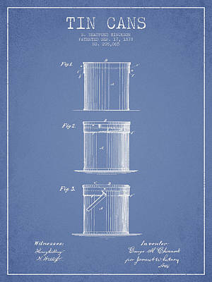 Tin Cans Patent Drawing From 1878 Poster