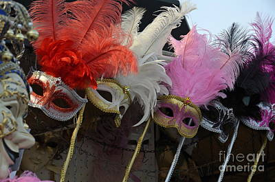 Traditional Venetian Masks With Feathers  Poster by Sami Sarkis
