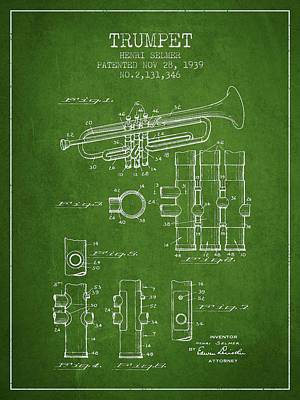 Trumpet Patent From 1939 - Green Poster by Aged Pixel