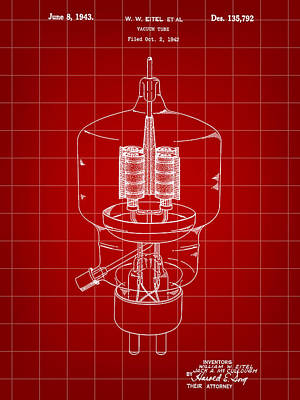 Vacuum Tube Patent 1942 - Red Poster by Stephen Younts