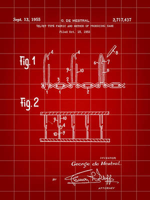 Velcro Patent 1952 - Red Poster