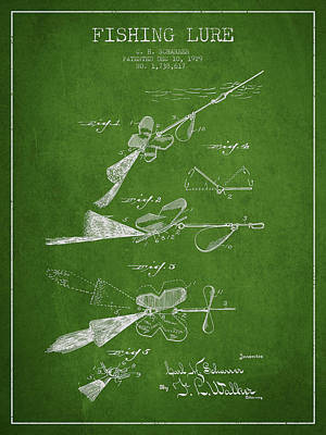 Vintage Fishing Lure Patent Drawing From 1929 Poster