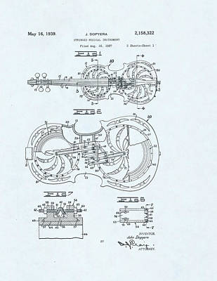 Violin Patent Drawing On Blue Background Poster
