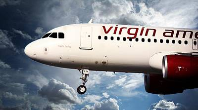 Flight Poster featuring the photograph Virgin America Mach Daddy by Aaron Berg
