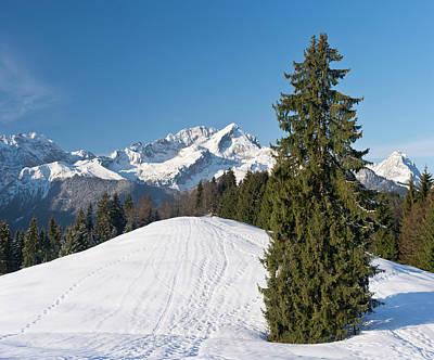 Wetterstein Mountain Range In Winter Poster by Martin Zwick