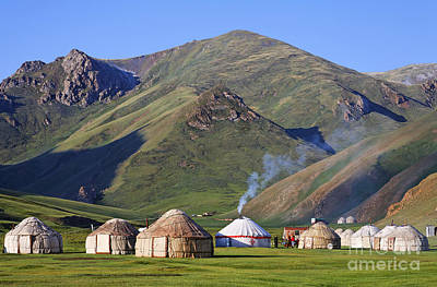 Yurts In The Tash Rabat Valley Of Kyrgyzstan  Poster